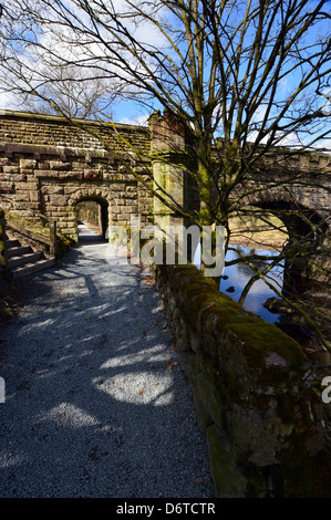 Ornate Aqueduct over the River Wharfe near Bolton Abbey on The Dales Way Long Distance Footpath in Wharfedale West - Stock Photo