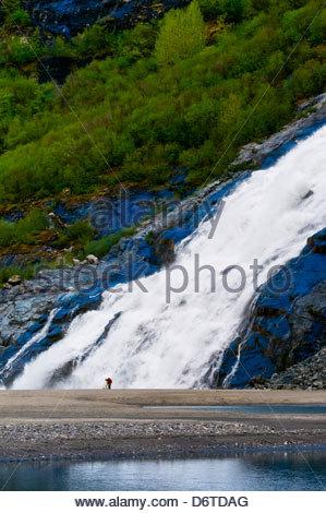 Nugget Falls flowing into Mendenhall Lake (next to Mendenhall Glacier), Juneau, southeast Alaska USA - Stock Photo