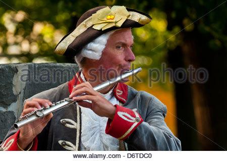 A flute player in historical costume, Sanssouci Palace, Sanssouci Park (a UNESCO World Heritage site), Potsdam, - Stock Photo