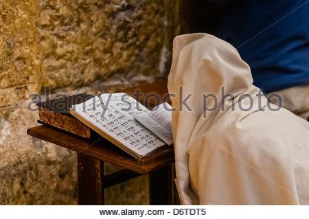 Hassidic Jews in the Prayer Hall, Western Wall (Wailing Wall), Old City, Jerusalem, Israel. - Stock Photo