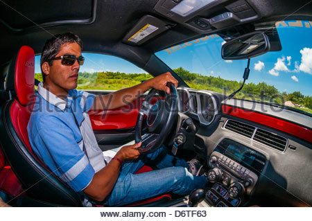 Driving an Audi R8 at Exotic Rides Mexico. Exotic Rides Mexico gives the opportunity for guests to drive the most - Stock Photo