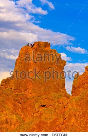 Rock climbing, Garden of the Gods, Colorado Springs, Colorado USA - Stock Photo
