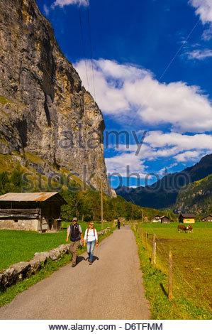 Walking path, Lauterbrunnen Valley, Canton Bern, Switzerland - Stock Photo