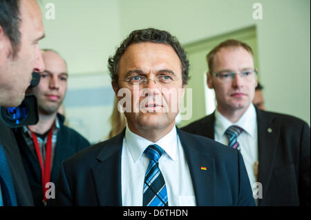 Berlin, Germany. April 23rd 2013. German Federal Interior Minister Hans-Peter Friedrich speech at the 10th Symposium - Stock Photo