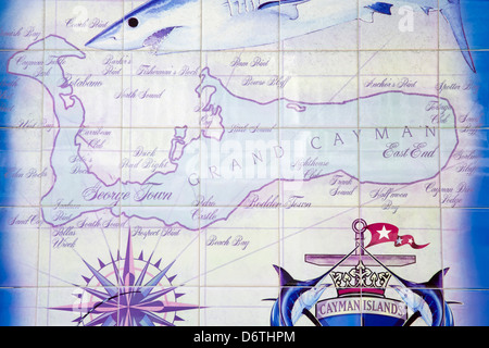 Tile map in George Town port, Grand Cayman, Cayman Islands, Greater Antilles, Caribbean - Stock Photo