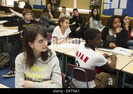 9th grade social studies teacher engages students with the Trojan War in a Greek history unit. Queens, NY - Stock Photo