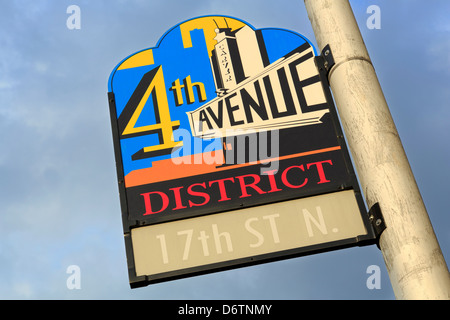 USA, Alabama, Birmingham, Historic 4th Avenue District sign - Stock Photo