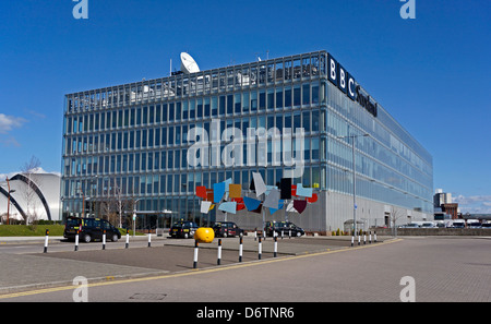 The BBC Scotland headquarters building at Pacific Quay on the River Clyde in Govan Glasgow Scotland - Stock Photo