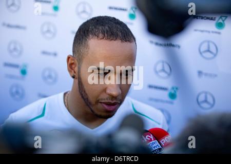 Lewis Hamilton Interview. - Stock Photo