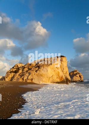 South Cyprus, Europe - Sunset at Aphrodite's Rock (Petra tou Romiou) - Stock Photo