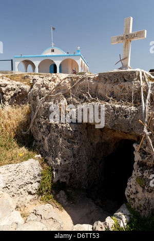 Cyprus - Entrance to the cave church at Aglia Thekla - Stock Photo