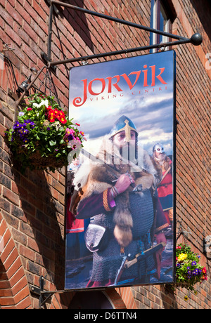 Decorated hanging sign at the York Jorvik Viking Centre entrance Coppergate City centre North Yorkshire England - Stock Photo