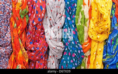 headcloths from market in Madrid - Stock Photo