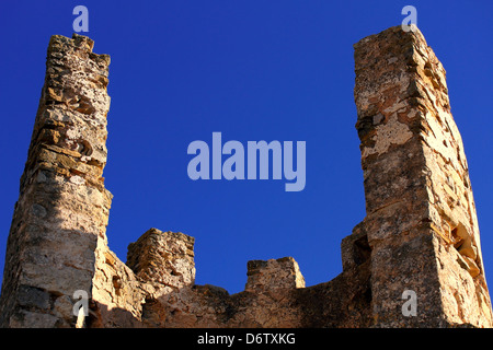 Ruins of Old castle of the Knights Templar in Alcala de Xivert, Spain. - Stock Photo