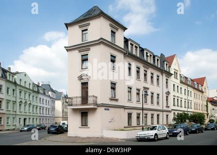 Dresden, Saxony, Gruenderzeit-residential buildings in Dresden-Pieschen - Stock Photo