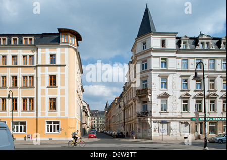 Dresden, Germany, Gruenderzeit-residential buildings in Dresden Hechtviertel - Stock Photo