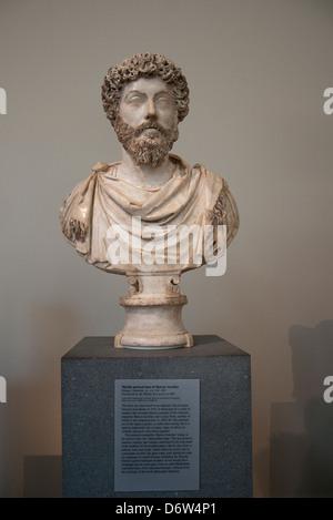 A bust of Marcus Aurelius in the Metropolitan Museum of Art, (Met) New York City USA - Stock Photo