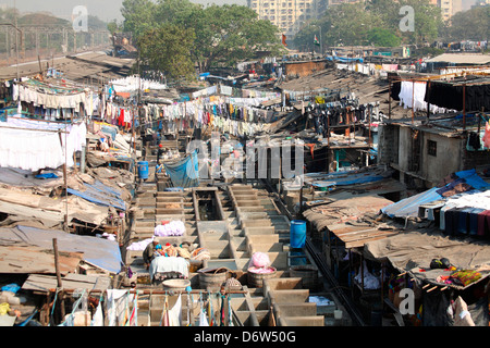 Dhobi Ghat a well known open air laundromat in Mumbai, Maharashtra, India - Stock Photo