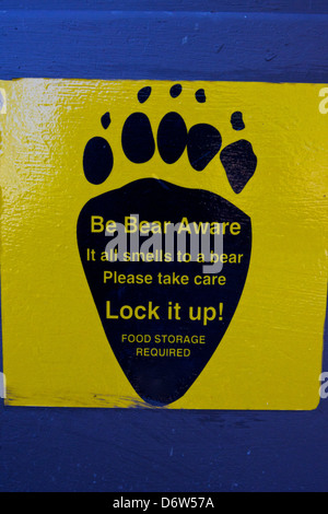 Black Bear Warning Sign On Pedestrian Boardwalk Atthornton
