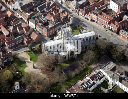 aerial view of St Marys Church in Beverley, East Yorkshire - Stock Photo