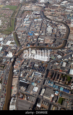aerial view of the industry around the River Hull north of Hull centre - Stock Photo