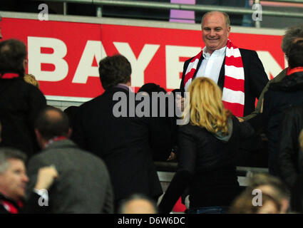 Munich's president Uli Hoeness seen on the stands prior to the UEFA Champions League semi final first leg soccer - Stock Photo