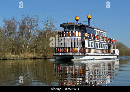 Southern Comfort Mississippi Paddle Boat on the River Bure heading towards Horning, Norfolk, Broads National Park - Stock Photo