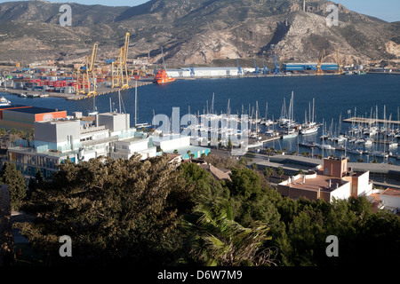 The port of Cartagena, Spain, viewed from the castle - Stock Photo