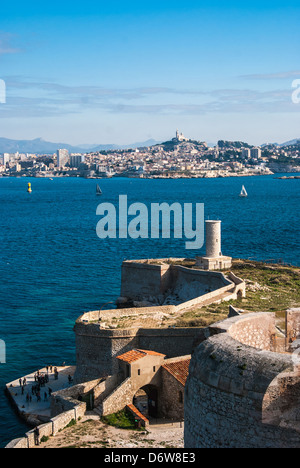 view over marseille from notre dame cathedral with the. Black Bedroom Furniture Sets. Home Design Ideas