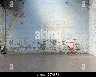 old painted brick wall distressed - Stock Photo