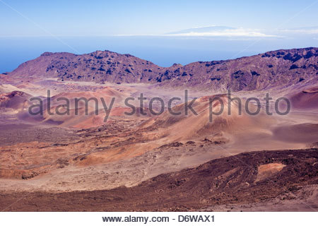Cinder cones in the crater of volcano Haleakala in Haleakala National Park on the island of Maui in the State of - Stock Photo