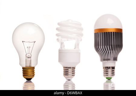 different types of light bulbs on white background - Stock Photo