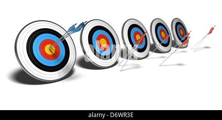 three blue arrows hitting the center or one target red arrows failed to reach their objective - Stock Photo