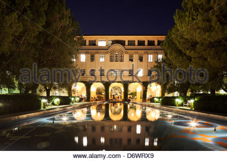 Beckman Institute and Pond at CalTech, Pasadena, California - Stock Photo