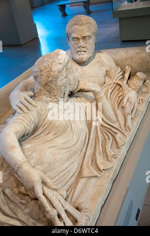 A sarcophagus lid in the Greek and Roman Art Gallery in the Metropolitan Museum of Art, (Met) New York City USA - Stock Photo