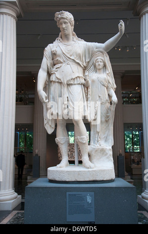 A statue of Dionysos in the Greek and Roman Art Gallery in the Metropolitan Museum of Art, (Met) New York City USA - Stock Photo