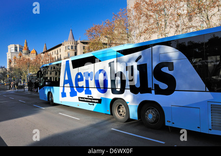 Barcelona, Catalonia, Spain. Aerobus - shuttle bus to the Airport from the city centre - in Placa de Catalunya - Stock Photo