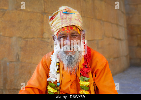 Portrait of India Hindu Holy Man, Sadhu, Jaisalmer Fort, Rajasthan, India - Stock Photo