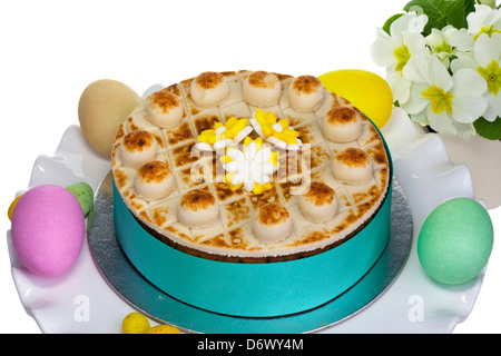 Traditional Simnel cake for Easter decorated with marzipan. - Stock Photo