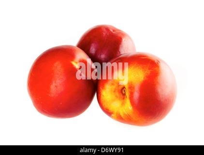 Fresh nectarines on a white background - Stock Photo