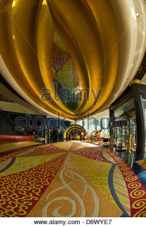 Lobby, Burj al Arab Hotel, Dubai, United Arab Emirates - Stock Photo