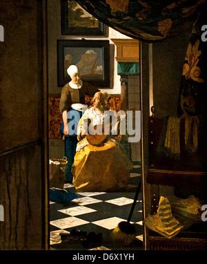 The love Letter 1669 Johannes Vermeer or Jan Vermeer 1632 - 1675 Dutch Netherlands - Stock Photo