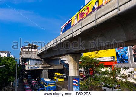 BTS Skytrain (elevated public transit), Victory Monument station, Bangkok, Thailand - Stock Photo