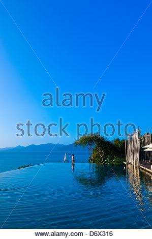Infinity Pool, Six Senses Hideaway (resort hotel), Koh Samui (island), Gulf of Thailand, Thailand - Stock Photo