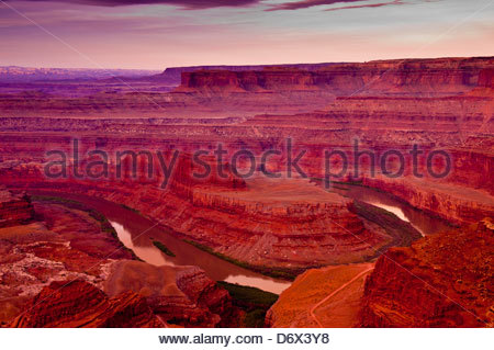 The Colorado River flowing below Dead Horse Point State Park, near Canyonlands National Park, outside Moab, Utah - Stock Photo