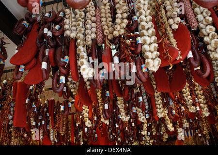 April 24, 2013 - Athens, Greece - Delicatessen butcher's sell Pastırma or bastirma or basturma is a highly seasoned, - Stock Photo