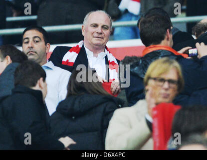 Munich's president Uli Hoeness is seen on the stands prior to the UEFA Champions League semi final first leg soccer - Stock Photo