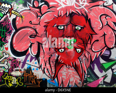Fantasy street art graffiti of abstract lion in Bogota, Colombia. - Stock Photo