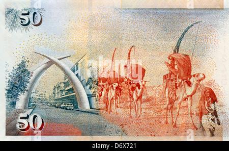 Kenya Fifty 50 Shilling Bank Note - Stock Photo
