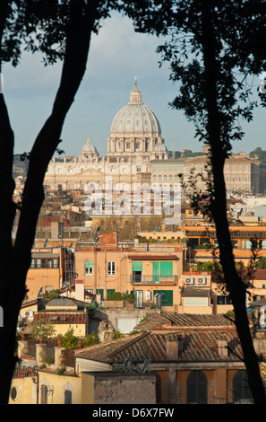 ROME, ITALY. An elevated view over the Tridente district of the city to St. Peter's basilica. 2013. - Stock Photo